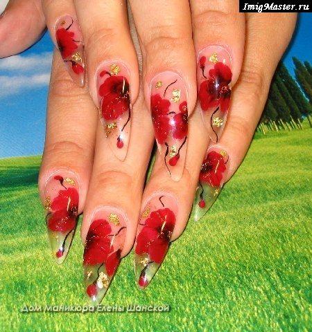 Акриловые ногти френч с лепкой 53